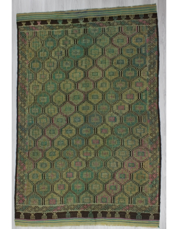 Vintage Unique Green Turkish Embroidered Kilim Rug