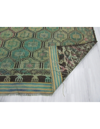 Vintage Unique Green Turkish Embroidered Kilim Rug