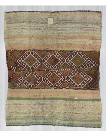 Decorative Small Vintage Embroidered Kilim Rug