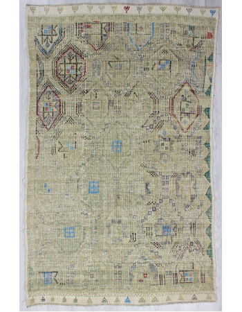 Washed Out Vintage Embroidered Turkish Kilim Rug