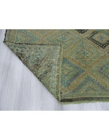 Vintage Green Embroidered Turkish Kilim Rug
