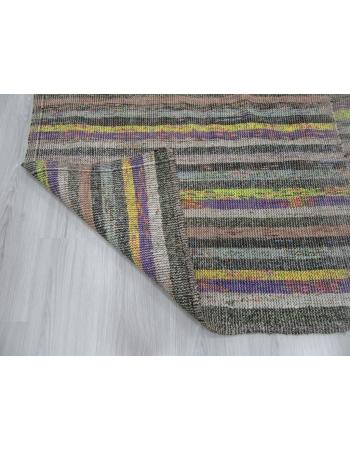 Striped Large Vintage Turkish Rag Rug