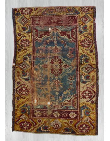 Distressed Antique Unique Turkish Wool Rug
