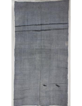 Vintage Gray Overdyed Turkish Hemp Kilim Rug
