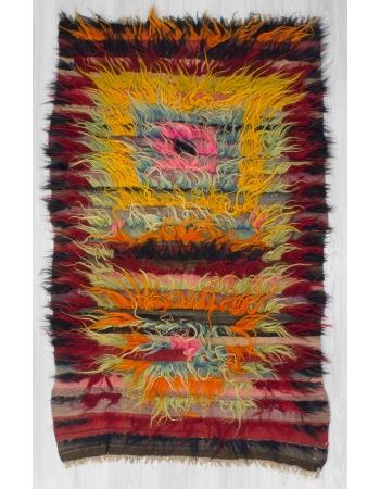 Vintage Colorful Turkish Shaggy Tulu Rug
