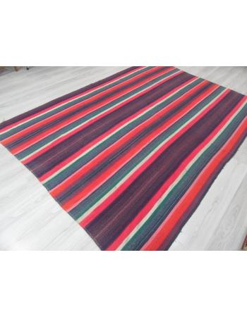 Vintage Striped Large Turkish Kilim Rug