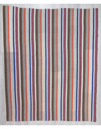 Large Handwoven Striped Kilim Rug