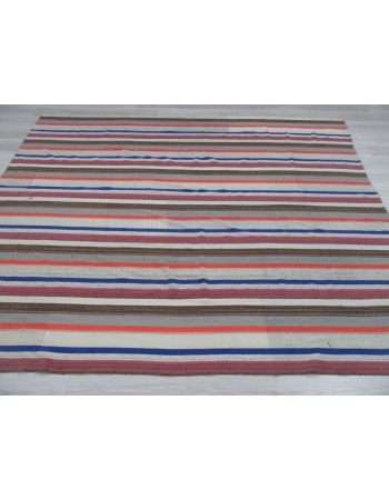 Large Handwoven Striped Kilim Rug