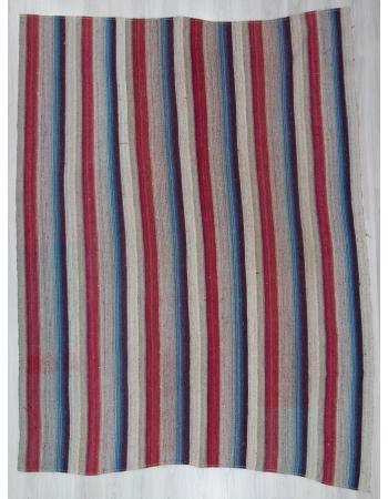 Red Blue Gray Striped Large Kilim Rug