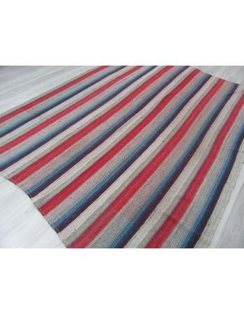 Red Blue Gray Striped Large Kilim Rug