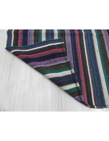Large Vintage Striped Blue Kilim Rug