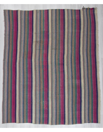 Large Pink Green Striped Turkish Kilim Rug
