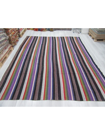 Purple Striped Large Vintage Kilim Rug