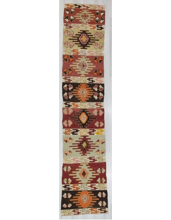 Vintage One Of a Kind Turkish Kilim Runner Rug