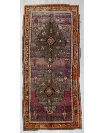 Purple ground Large Vintage Turkish Kars Rug