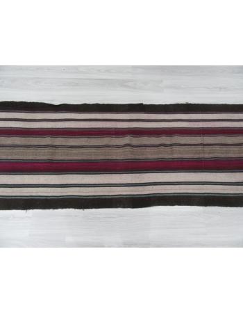 Black Purple White striped Long Turkish Kilim Runner
