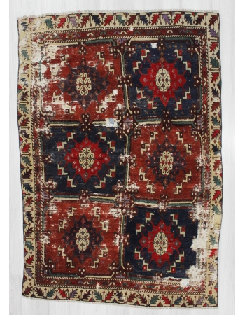 Antique Anatolian Distressed Wool Rug