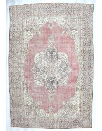 Vintage Washed Out Large Oushak Rug