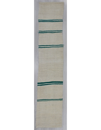 Green Striped Vintage Turkish Hemp Kilim Runner Rug