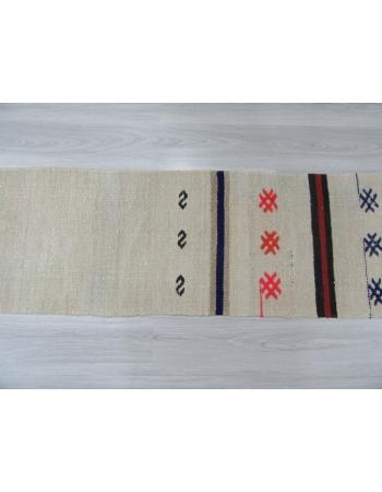 Decorative Vintage Embroidered Hemp Kilim Runner
