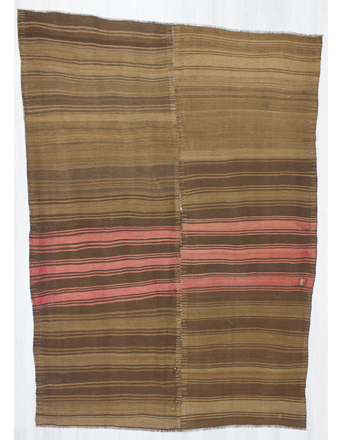 Vintage Brown And C Striped Kilim Rug