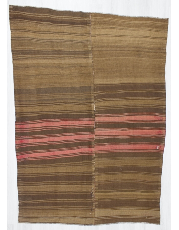 Vintage Brown and Coral striped Kilim Rug