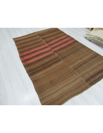 Vintage Brown and Coral striped Kilim Rug