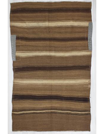 Vintage Striped Turkish Brown Kilim Rug