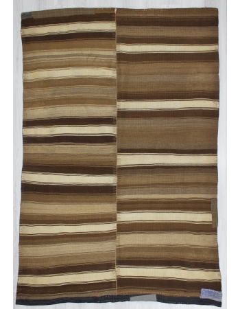 Unique Striped Vintage Turkish Brown Kilim Rug