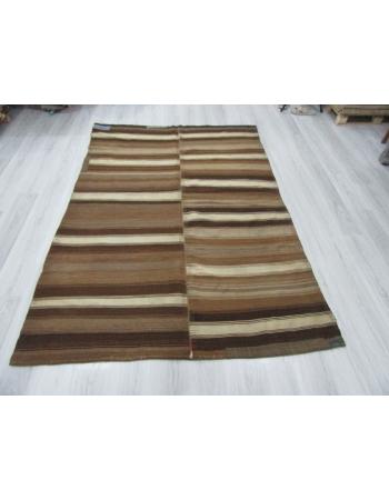 Unique Striped Vintage Turkish Brown Kilim Rug