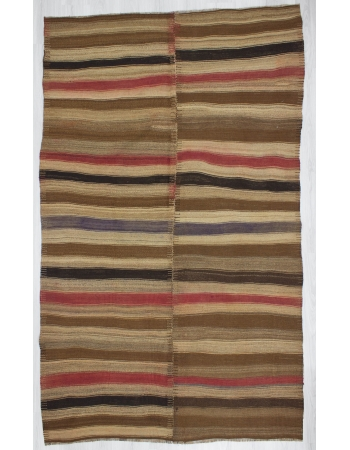 Decorative Striped Vintage Turkish Kilim Rug