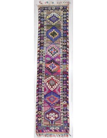 Colorful Vintage Decorative Turkish Runner Rug