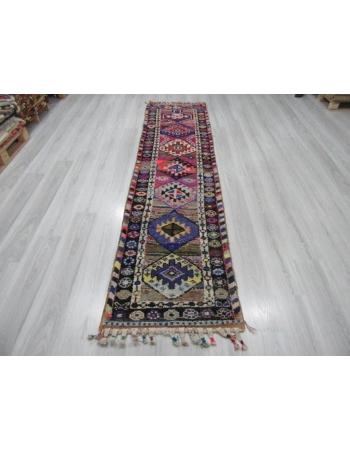 Colorful Vintage Decorative Turkish Runner Rug
