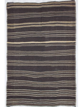 Dark Brown / Gray Striped Vintage Turkish Goat Hair Kilim Rug