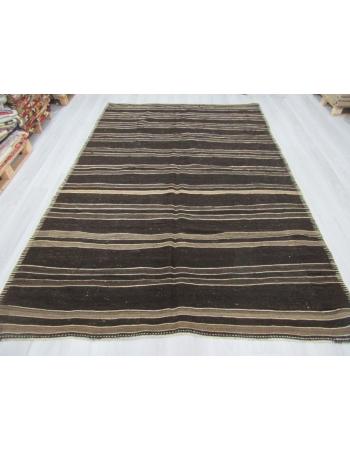 Dark Brown / Gray Striped Vintage Turkish Goat Hair Kilim Rug