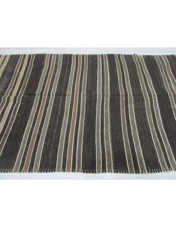 Natural Vintage Striped Turkish Kilim Rug