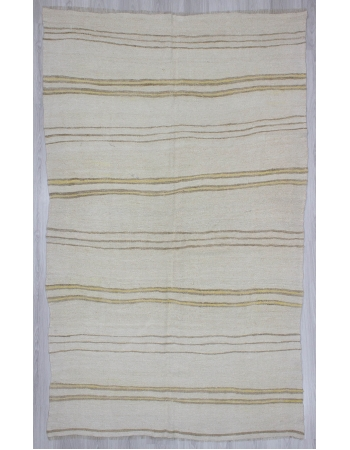 Yellow Striped Vintage Turkish Hemp Kilim Rug