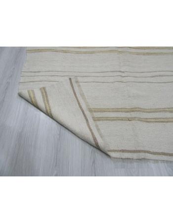 Yellow Striped Vintage Turkish Hemp Kilim Rug