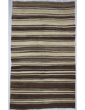 Natural Vintage Striped Turkish Kilim Rug