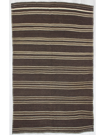 Vintage Striped Natural Brown Turkish Kilim Rug