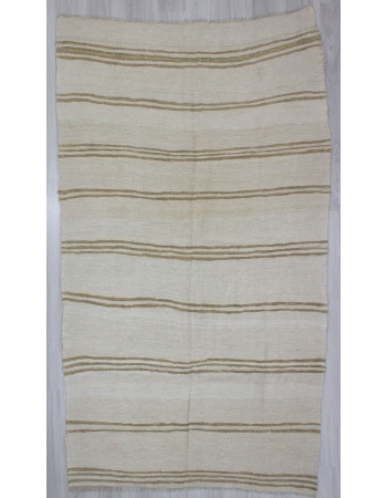 Brown Striped Vintage Turkish Hemp Kilim Rug
