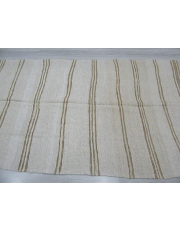 Brown Striped Vintage Turkish Hemp Kilim Rug