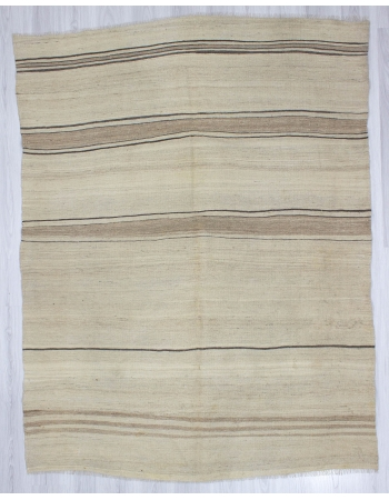 Vintage Natural Striped Wool Kilim Rug