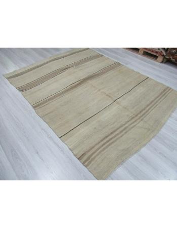 Vintage Natural Striped Wool Kilim Rug
