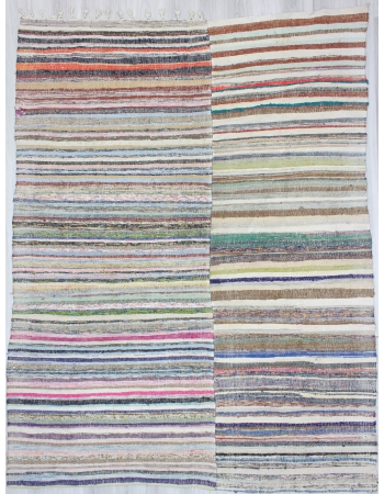 Multicolor Striped Vintage Turkish Rag Rug