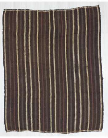 Vertical Striped Vintage Turkish Kilim Rug