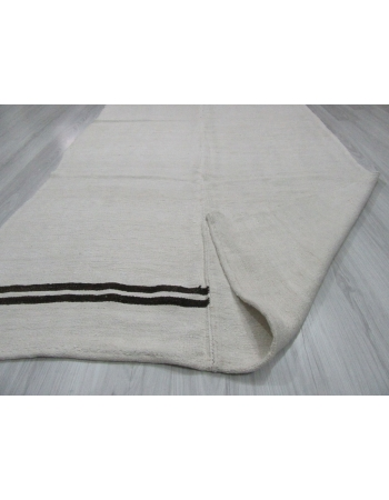 Black Striped Vintage Turkish Hemp Kilim Rug