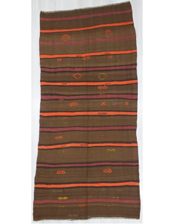 Orange / Brown Striped Vintage Kilim Rug