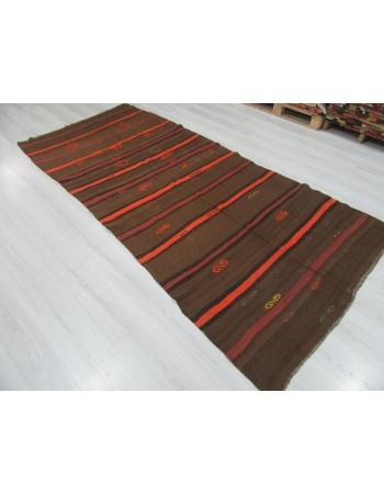 Orange / Brown Striped Vintage Kilim Rug