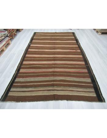 Vintage Brown Striped Natural Kilim Rug